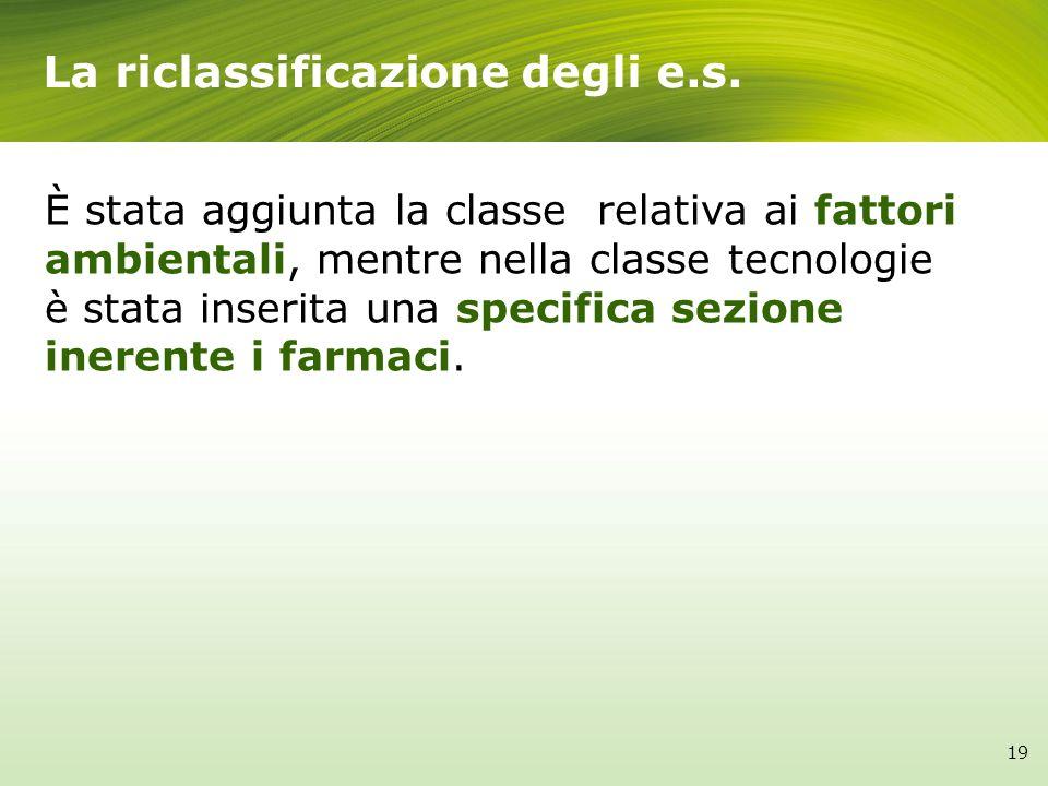 La riclassificazione degli e.s. 19 È stata aggiunta la classe relativa ai fattori ambientali, mentre nella classe tecnologie è stata inserita una spec