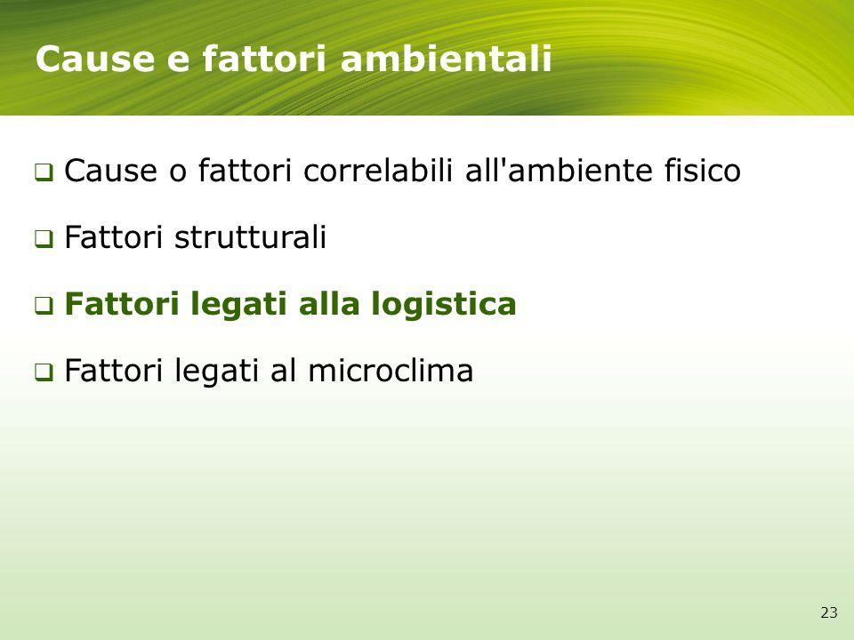 Cause e fattori ambientali 23 Cause o fattori correlabili all'ambiente fisico Fattori strutturali Fattori legati alla logistica Fattori legati al micr
