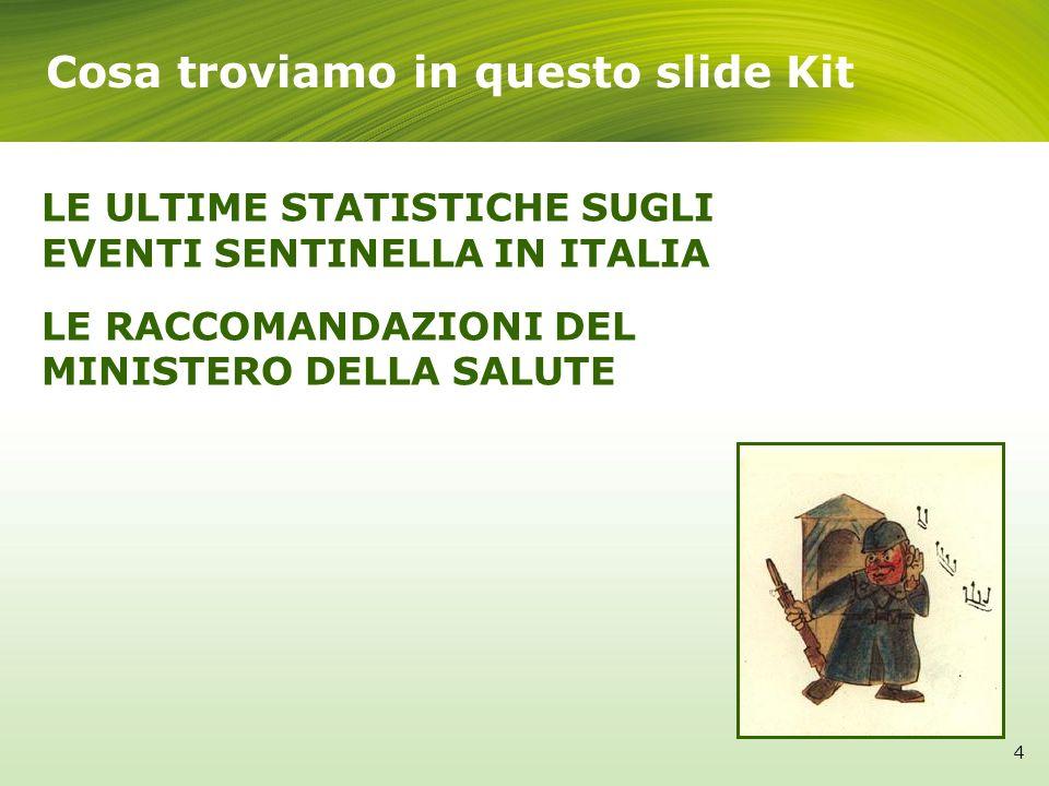 4 LE ULTIME STATISTICHE SUGLI EVENTI SENTINELLA IN ITALIA LE RACCOMANDAZIONI DEL MINISTERO DELLA SALUTE Cosa troviamo in questo slide Kit 4