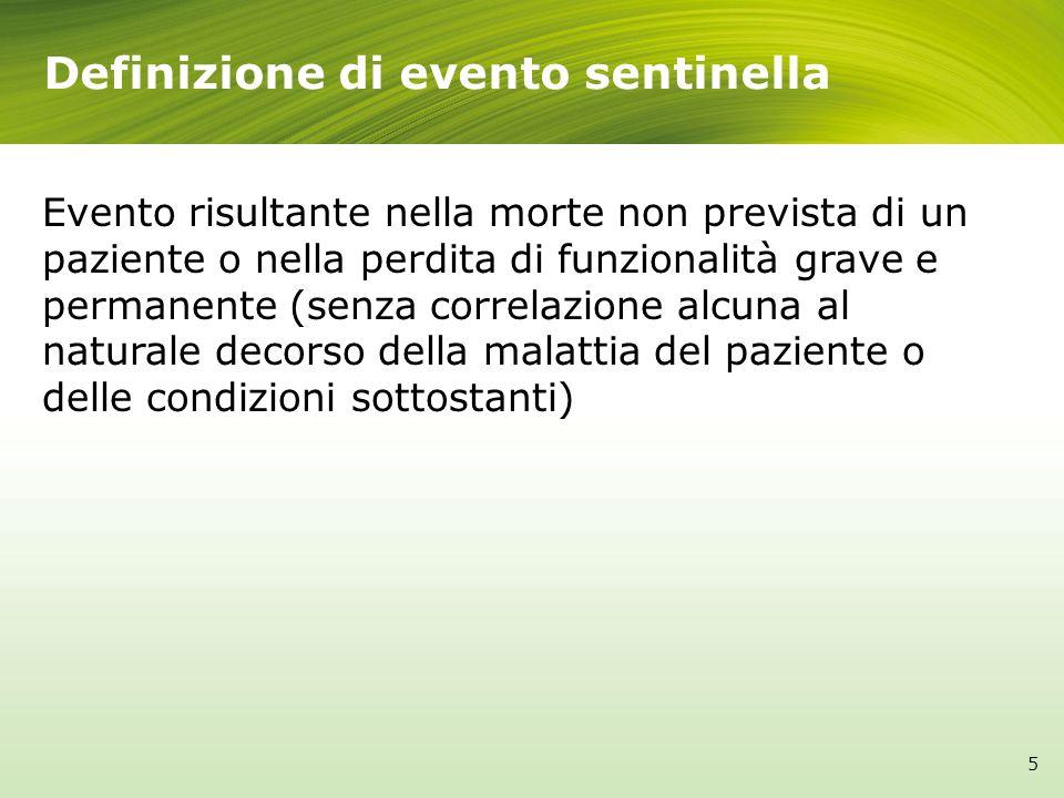 Definizione di evento sentinella 5 Evento risultante nella morte non prevista di un paziente o nella perdita di funzionalità grave e permanente (senza