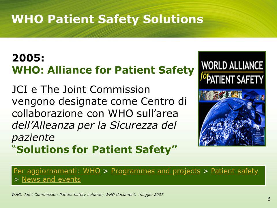 International Patient Safety Goal 7 Obiettivo 1 Identificare Correttamente il Paziente Obiettivo 2 Migliorare lEfficacia della Comunicazione Obiettivo 3 Migliorare la Sicurezza dei Farmaci ad Alto Rischio Obiettivo 4 Garantire lIntervento Chirurgico in Paziente Corretto, con Procedura Corretta, in Parte del Corpo Corretta Obiettivo 5 Ridurre il Rischio di Infezioni associate allAssistenza Sanitaria Obiettivo 6 Ridurre il Rischio di Danno al Paziente inseguito a Caduta