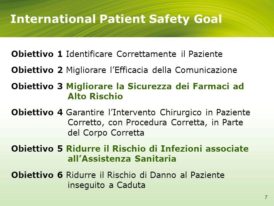 International Patient Safety Goal 7 Obiettivo 1 Identificare Correttamente il Paziente Obiettivo 2 Migliorare lEfficacia della Comunicazione Obiettivo