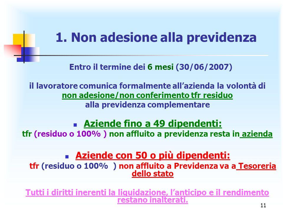 11 1. Non adesione alla previdenza Entro il termine dei 6 mesi (30/06/2007) il lavoratore comunica formalmente allazienda la volontà di non adesione/n