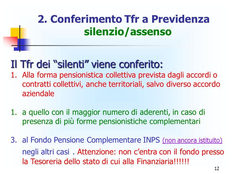 12 2. Conferimento Tfr a Previdenza silenzio/assenso Il Tfr dei silenti viene conferito: 1. 1.Alla forma pensionistica collettiva prevista dagli accor