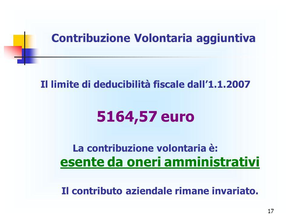 17 Contribuzione Volontaria aggiuntiva Il limite di deducibilità fiscale dall1.1.2007 5164,57 euro La contribuzione volontaria è: esente da oneri ammi