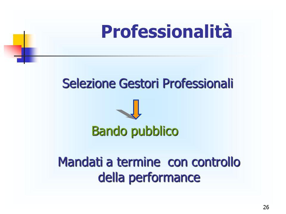 26 Professionalità Selezione Gestori Professionali Bando pubblico Mandati a termine con controllo della performance