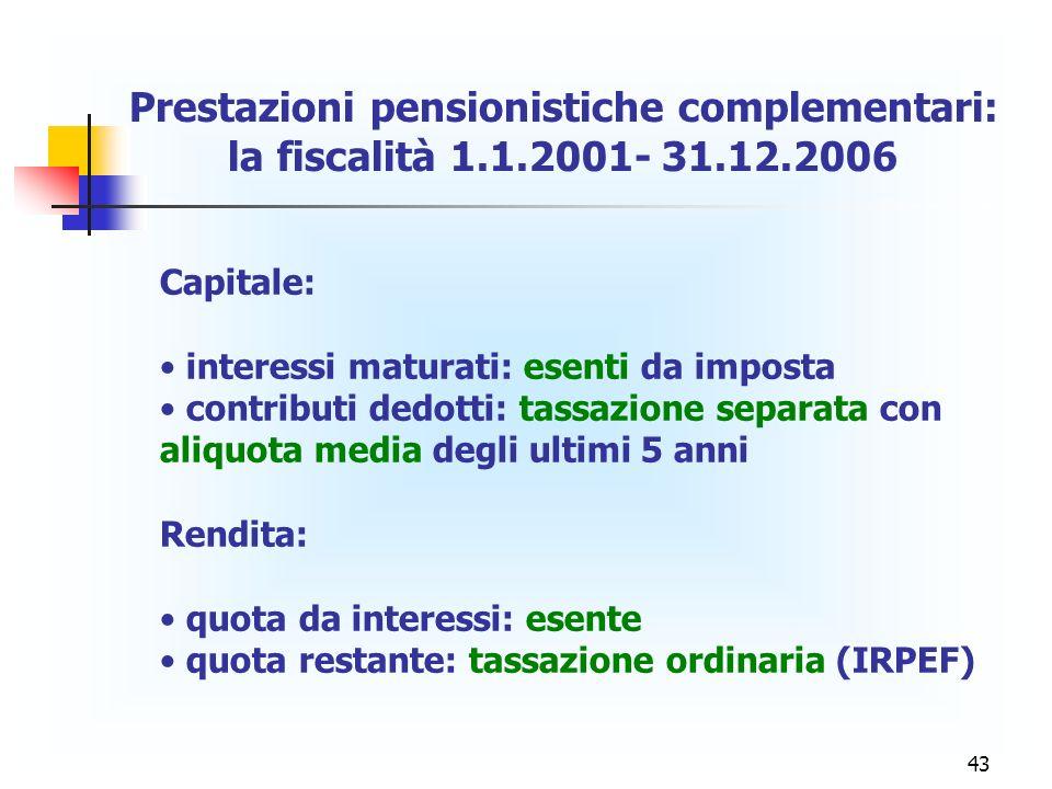 43 Capitale: interessi maturati: esenti da imposta contributi dedotti: tassazione separata con aliquota media degli ultimi 5 anni Rendita: quota da in