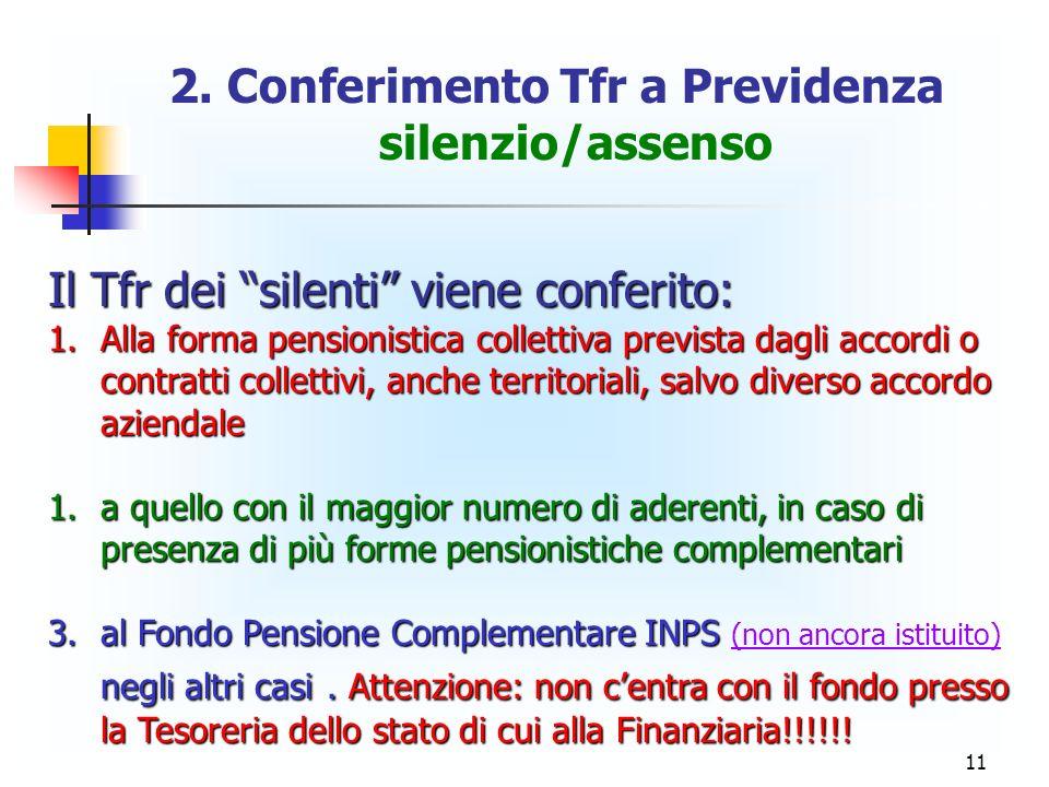 11 2. Conferimento Tfr a Previdenza silenzio/assenso Il Tfr dei silenti viene conferito: 1.Alla forma pensionistica collettiva prevista dagli accordi