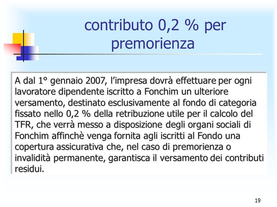 19 contributo 0,2 % per premorienza A dal 1° gennaio 2007, limpresa dovrà effettuare per ogni lavoratore dipendente iscritto a Fonchim un ulteriore ve