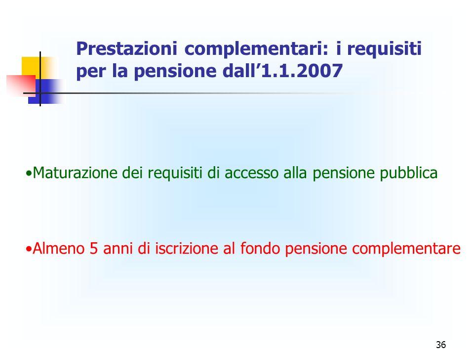 36 Prestazioni complementari: i requisiti per la pensione dall1.1.2007 Maturazione dei requisiti di accesso alla pensione pubblica Almeno 5 anni di is