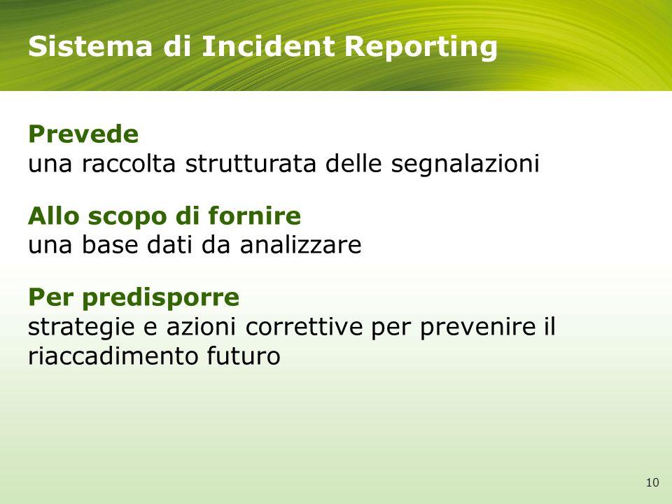 Sistema di Incident Reporting Prevede una raccolta strutturata delle segnalazioni Allo scopo di fornire una base dati da analizzare Per predisporre st