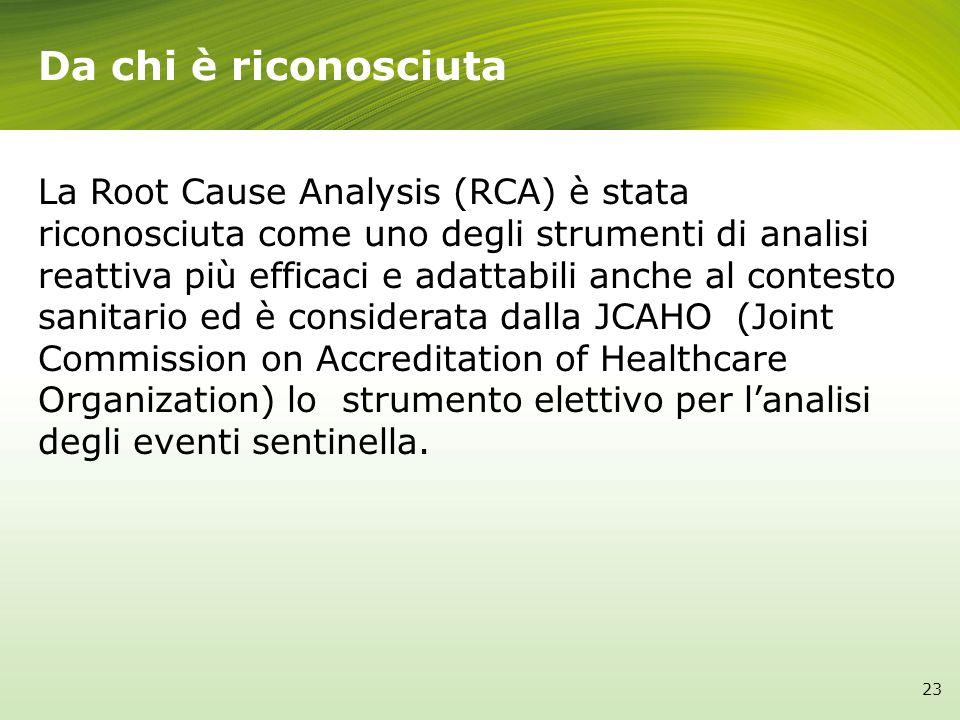 La Root Cause Analysis (RCA) è stata riconosciuta come uno degli strumenti di analisi reattiva più efficaci e adattabili anche al contesto sanitario e