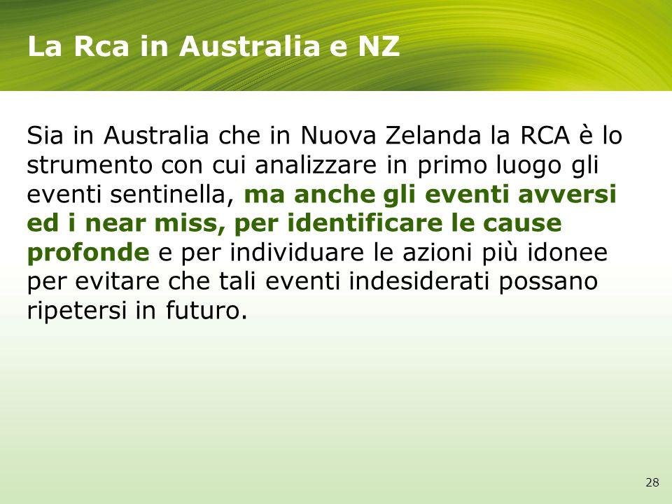 La Rca in Australia e NZ Sia in Australia che in Nuova Zelanda la RCA è lo strumento con cui analizzare in primo luogo gli eventi sentinella, ma anche