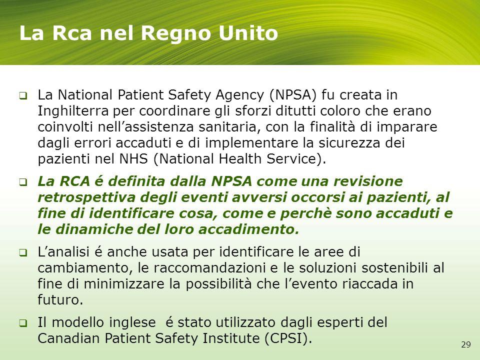 La Rca nel Regno Unito La National Patient Safety Agency (NPSA) fu creata in Inghilterra per coordinare gli sforzi ditutti coloro che erano coinvolti