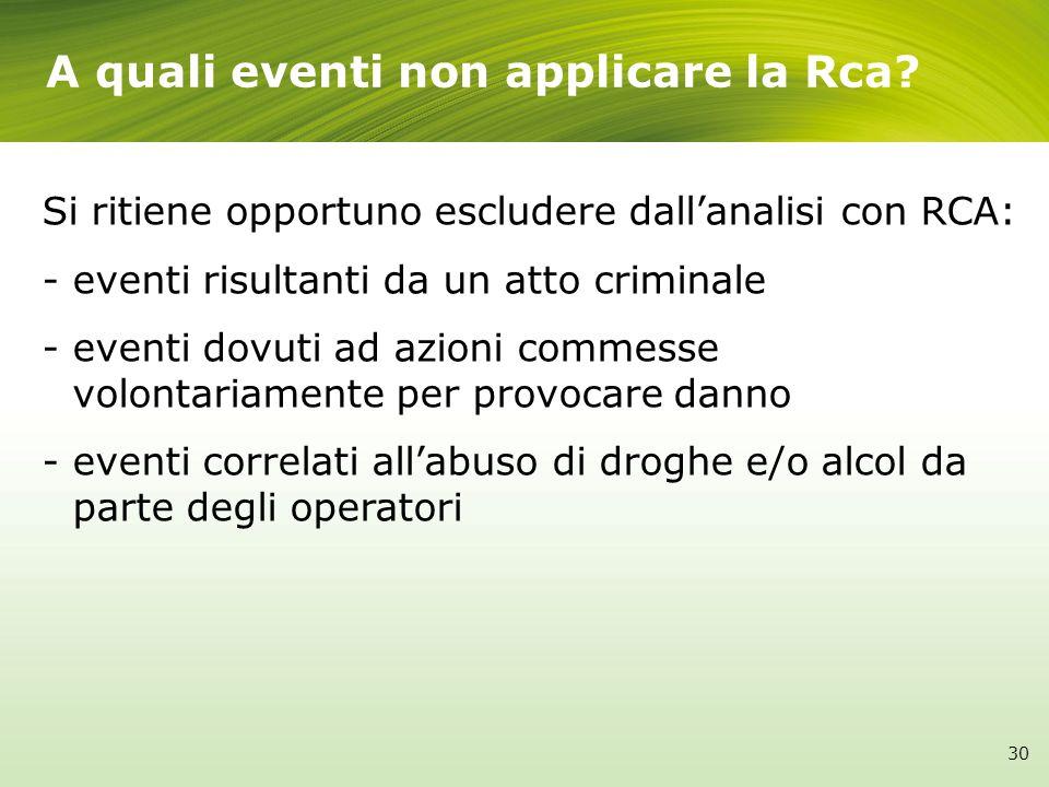 A quali eventi non applicare la Rca? Si ritiene opportuno escludere dallanalisi con RCA: - eventi risultanti da un atto criminale - eventi dovuti ad a