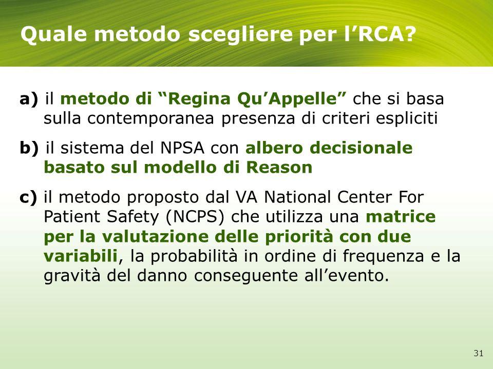 Quale metodo scegliere per lRCA? a) il metodo di Regina QuAppelle che si basa sulla contemporanea presenza di criteri espliciti b) il sistema del NPSA