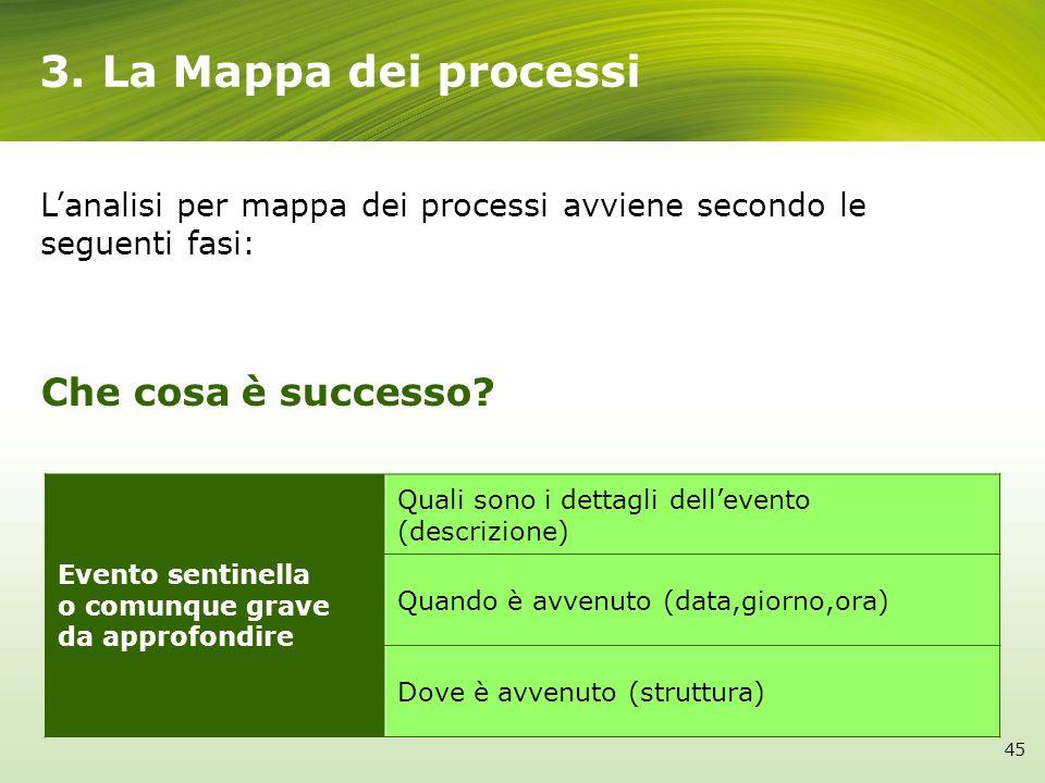 3. La Mappa dei processi Evento sentinella o comunque grave da approfondire Quali sono i dettagli dellevento (descrizione) Quando è avvenuto (data,gio
