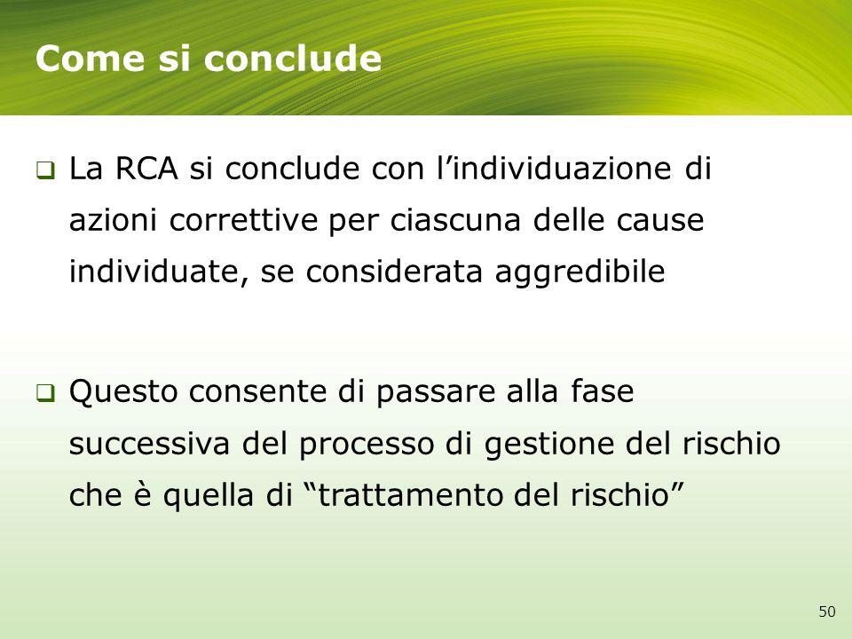 La RCA si conclude con lindividuazione di azioni correttive per ciascuna delle cause individuate, se considerata aggredibile Questo consente di passar