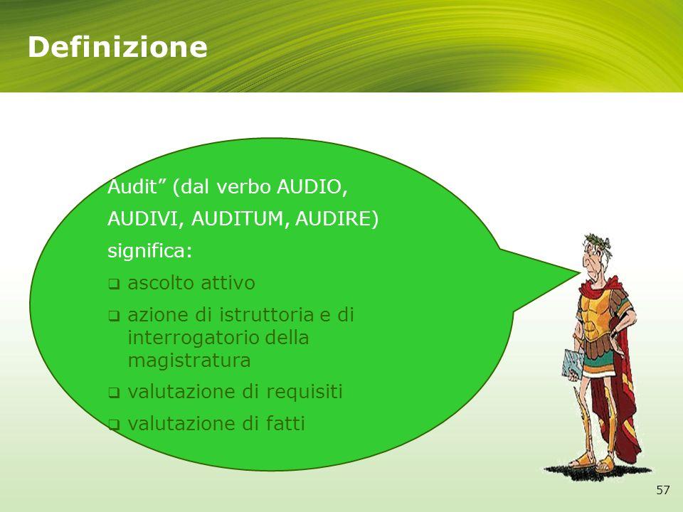 Definizione 57 Audit (dal verbo AUDIO, AUDIVI, AUDITUM, AUDIRE) significa: ascolto attivo azione di istruttoria e di interrogatorio della magistratura
