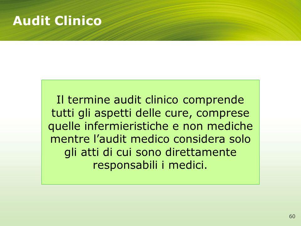 Il termine audit clinico comprende tutti gli aspetti delle cure, comprese quelle infermieristiche e non mediche mentre laudit medico considera solo gl