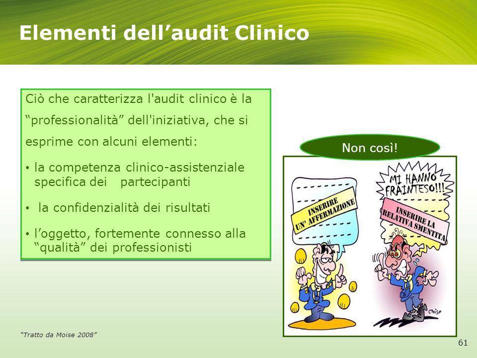 Elementi dellaudit Clinico Ciò che caratterizza l'audit clinico è la professionalità dell'iniziativa, che si esprime con alcuni elementi: la competenz