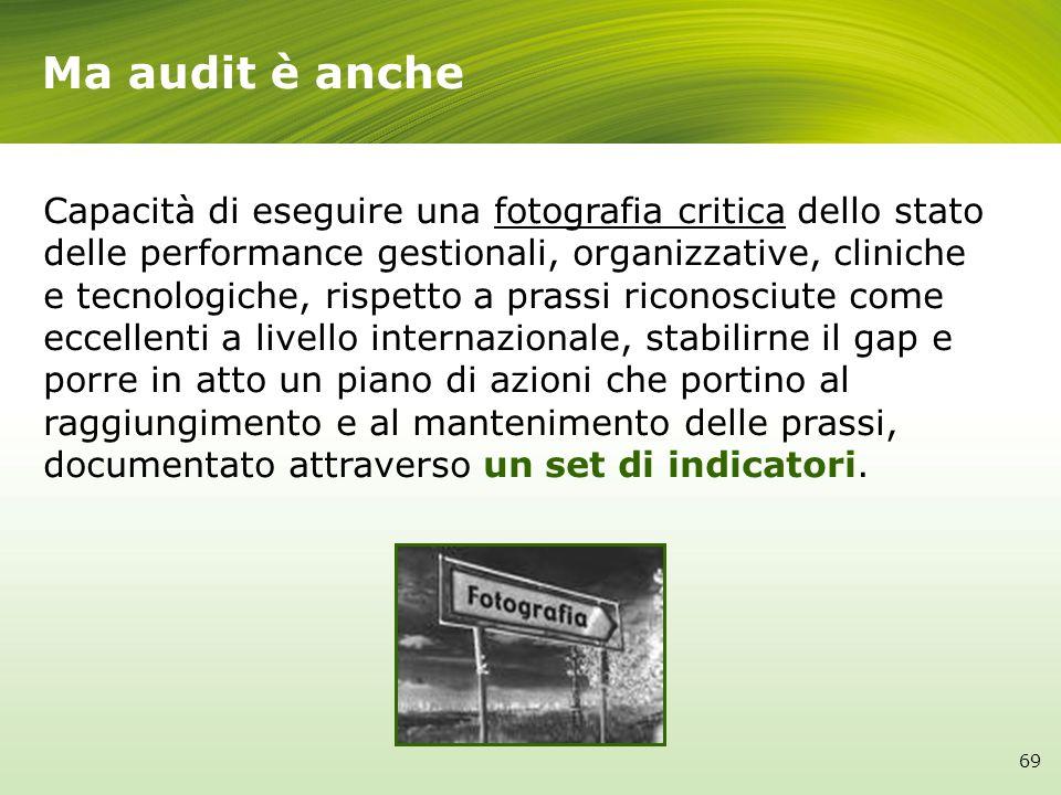 Ma audit è anche Capacità di eseguire una fotografia critica dello stato delle performance gestionali, organizzative, cliniche e tecnologiche, rispett