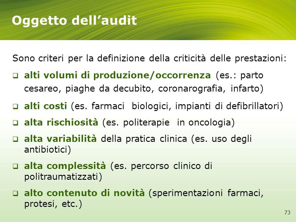 Oggetto dellaudit Sono criteri per la definizione della criticità delle prestazioni: alti volumi di produzione/occorrenza (es.: parto cesareo, piaghe