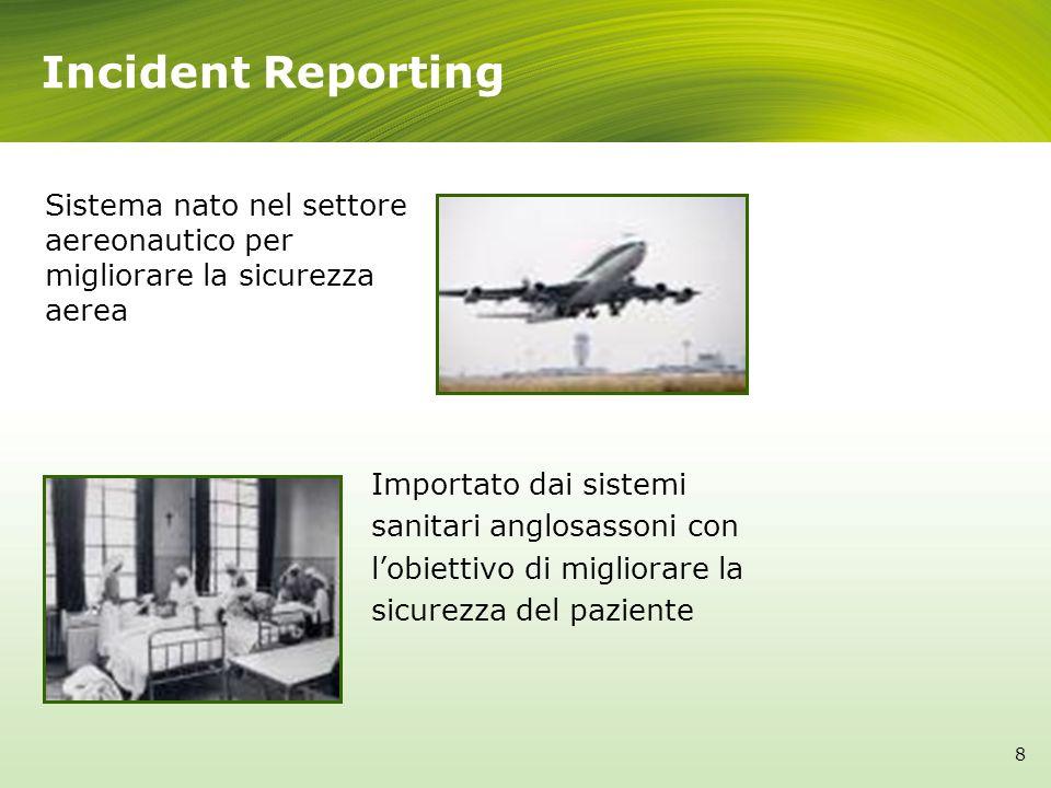 Incident Reporting Importato dai sistemi sanitari anglosassoni con lobiettivo di migliorare la sicurezza del paziente Sistema nato nel settore aereona