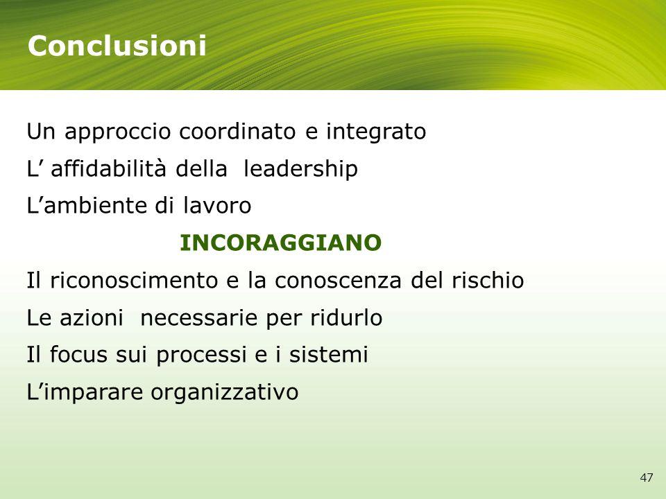 Conclusioni Un approccio coordinato e integrato L affidabilità della leadership Lambiente di lavoro INCORAGGIANO Il riconoscimento e la conoscenza del