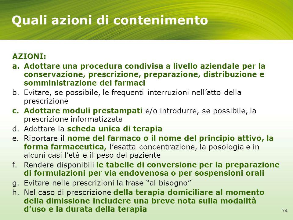 Quali azioni di contenimento 54 AZIONI: a.Adottare una procedura condivisa a livello aziendale per la conservazione, prescrizione, preparazione, distr