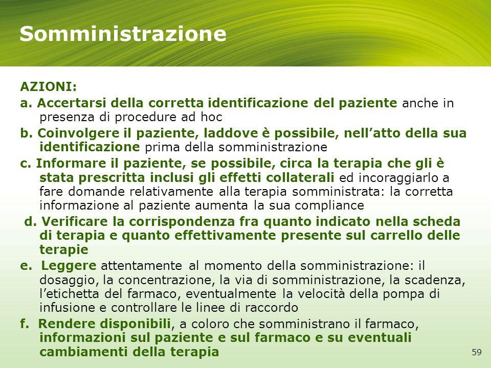 Somministrazione 59 AZIONI: a. Accertarsi della corretta identificazione del paziente anche in presenza di procedure ad hoc b. Coinvolgere il paziente