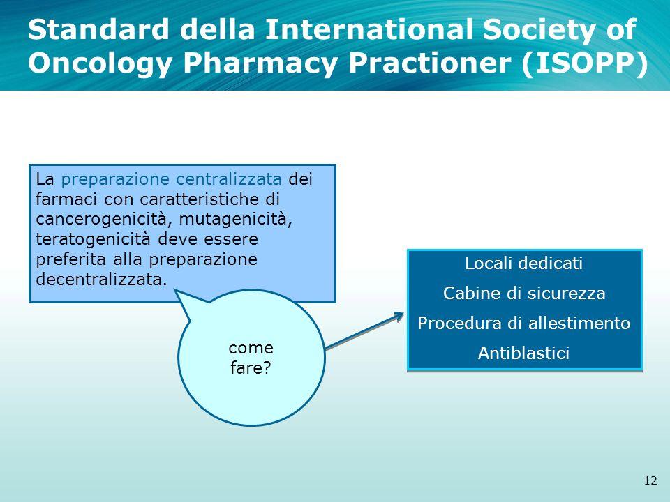 Standard della International Society of Oncology Pharmacy Practioner (ISOPP) 12 La preparazione centralizzata dei farmaci con caratteristiche di cance
