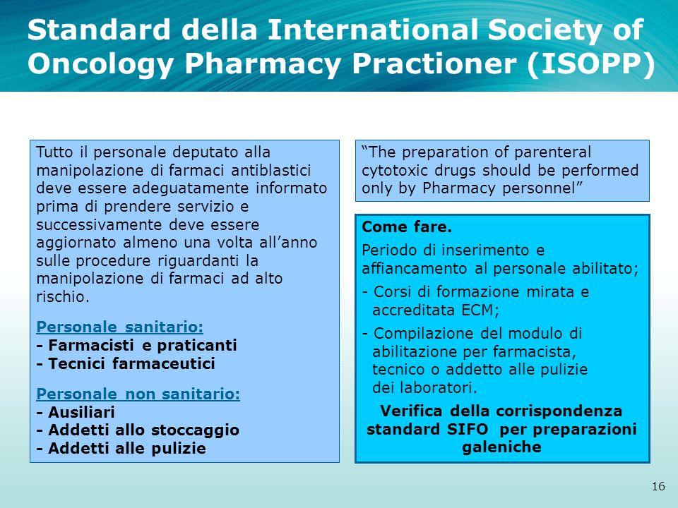 Standard della International Society of Oncology Pharmacy Practioner (ISOPP) 16 Tutto il personale deputato alla manipolazione di farmaci antiblastici