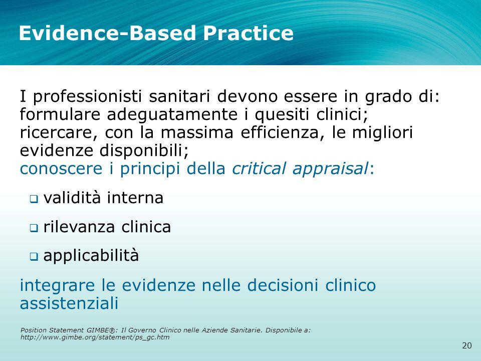 Evidence-Based Practice 20 I professionisti sanitari devono essere in grado di: formulare adeguatamente i quesiti clinici; ricercare, con la massima e