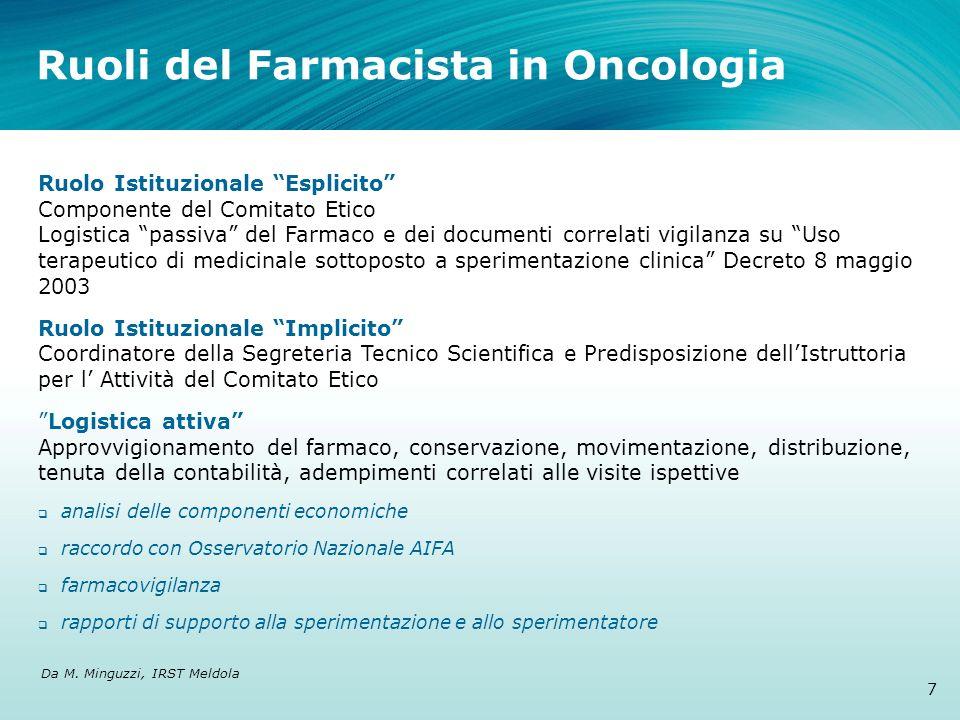 Ruoli del Farmacista in Oncologia Ruolo Istituzionale Esplicito Componente del Comitato Etico Logistica passiva del Farmaco e dei documenti correlati