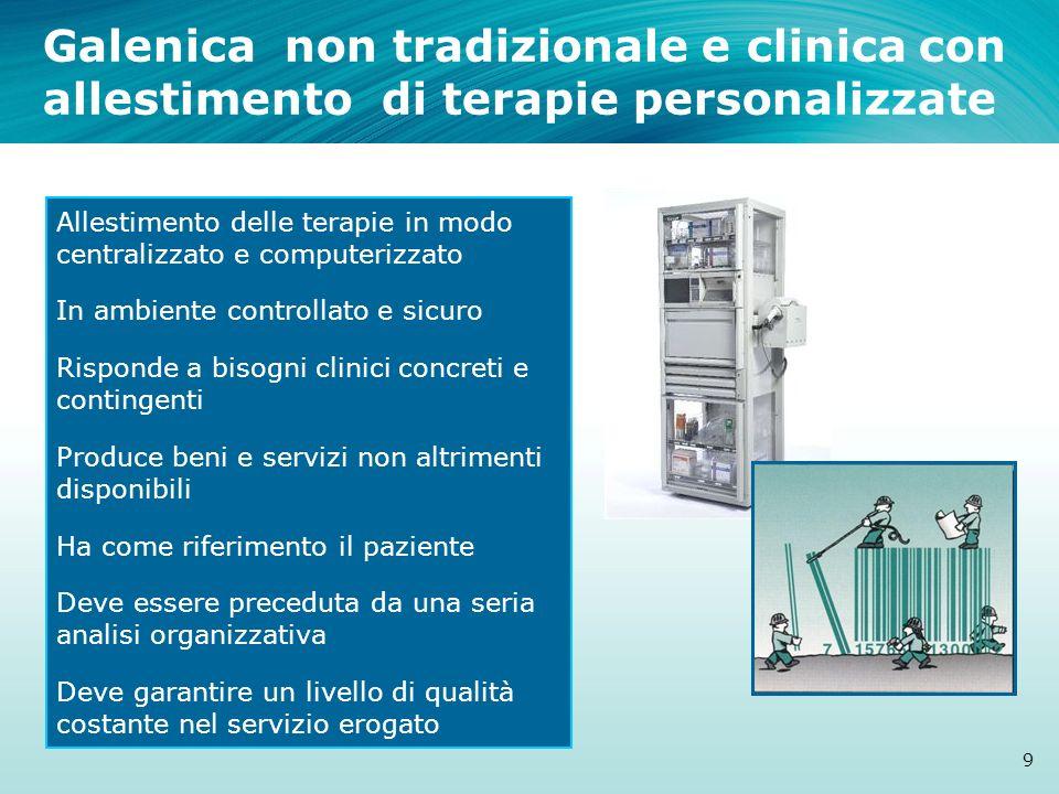 Galenica non tradizionale e clinica con allestimento di terapie personalizzate 9 Allestimento delle terapie in modo centralizzato e computerizzato In