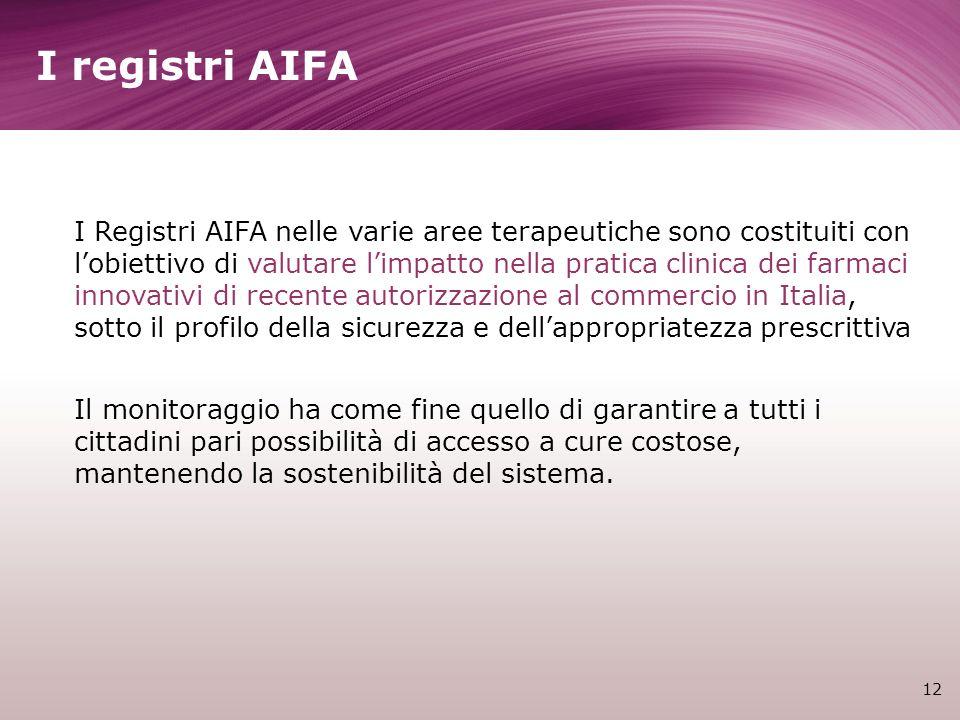 I registri AIFA 12 I Registri AIFA nelle varie aree terapeutiche sono costituiti con lobiettivo di valutare limpatto nella pratica clinica dei farmaci
