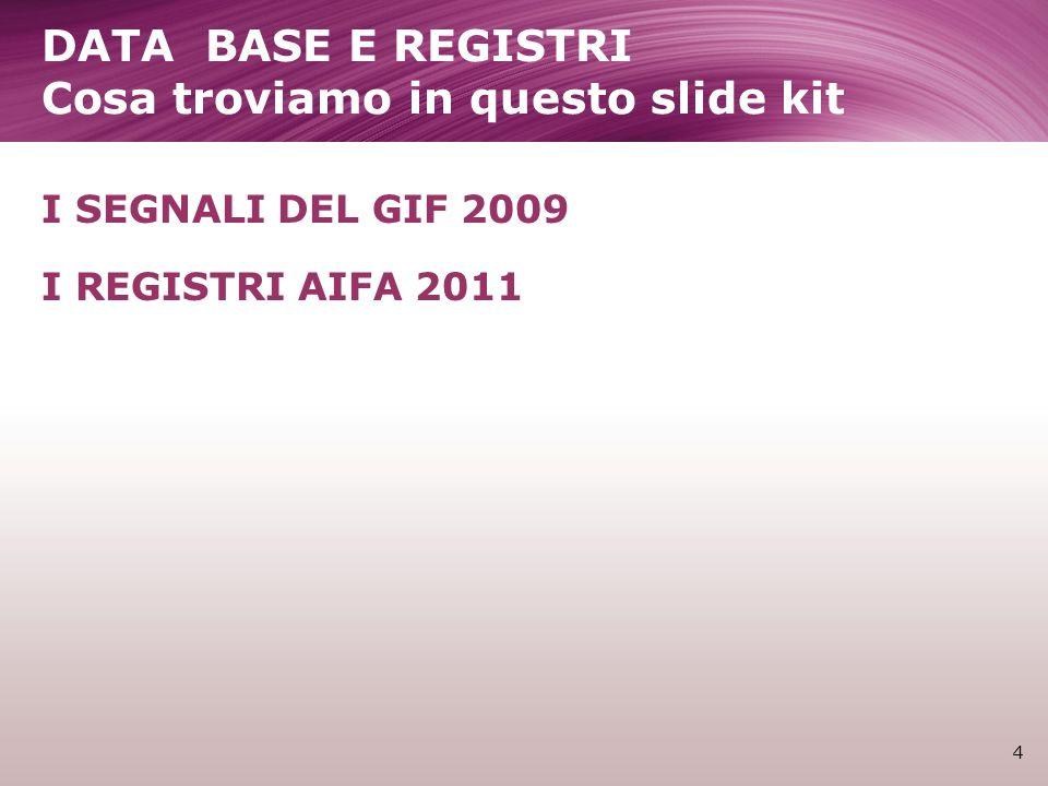 I registi per patologia 15 LAIFA sostiene numerosi tipi di registri: Per patologie (es.