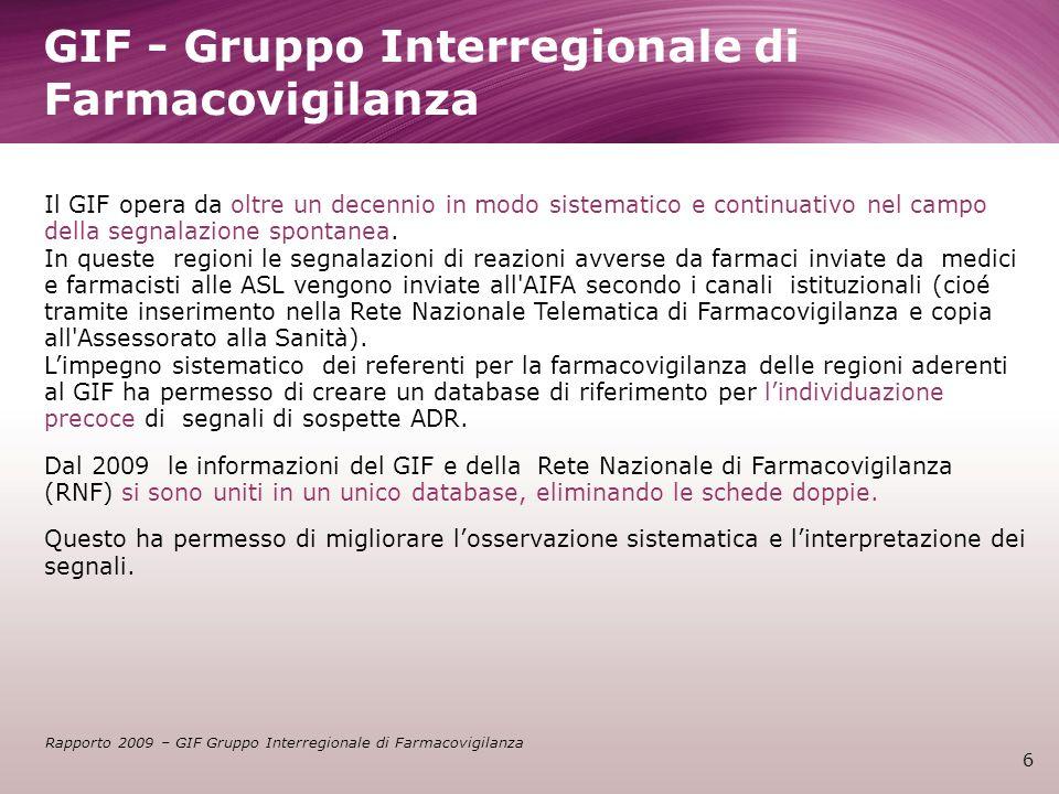 GIF - Gruppo Interregionale di Farmacovigilanza 6 Il GIF opera da oltre un decennio in modo sistematico e continuativo nel campo della segnalazione sp