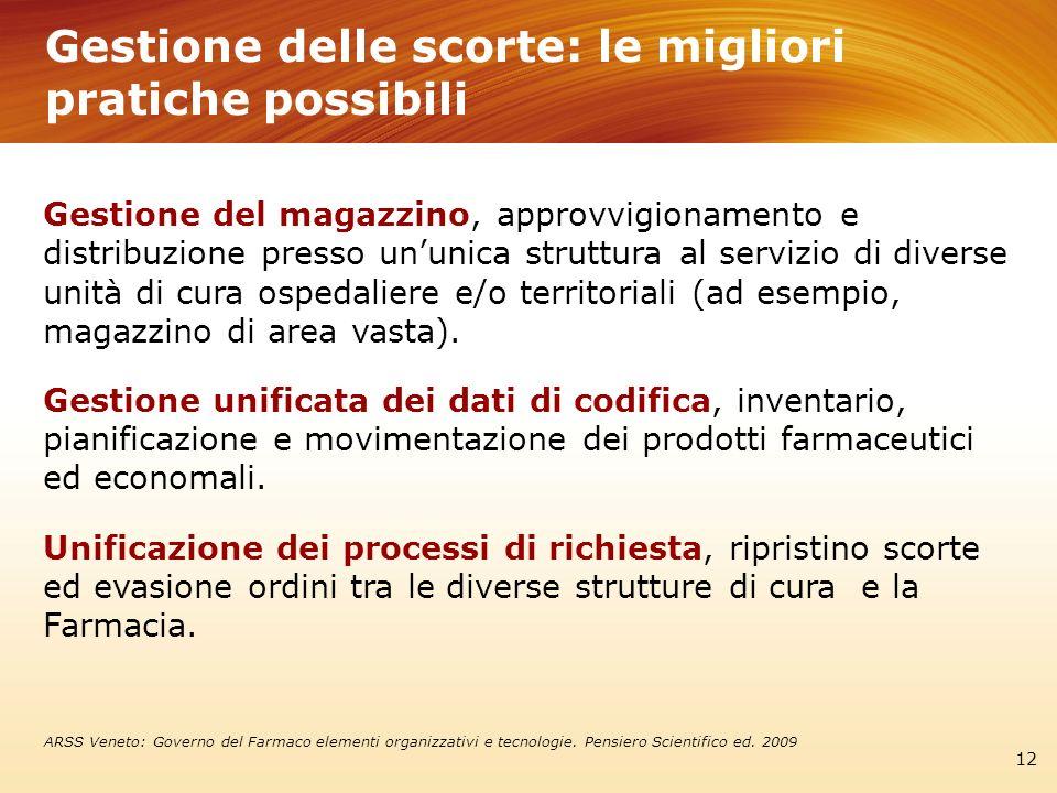 Gestione delle scorte: le migliori pratiche possibili 12 Gestione del magazzino, approvvigionamento e distribuzione presso ununica struttura al serviz