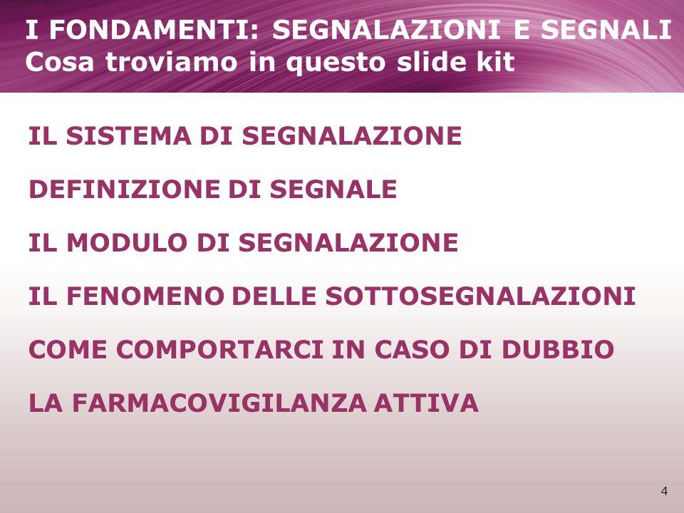 IL SISTEMA DI SEGNALAZIONE DEFINIZIONE DI SEGNALE IL MODULO DI SEGNALAZIONE IL FENOMENO DELLE SOTTOSEGNALAZIONI COME COMPORTARCI IN CASO DI DUBBIO LA FARMACOVIGILANZA ATTIVA 4 I FONDAMENTI: SEGNALAZIONI E SEGNALI Cosa troviamo in questo slide kit
