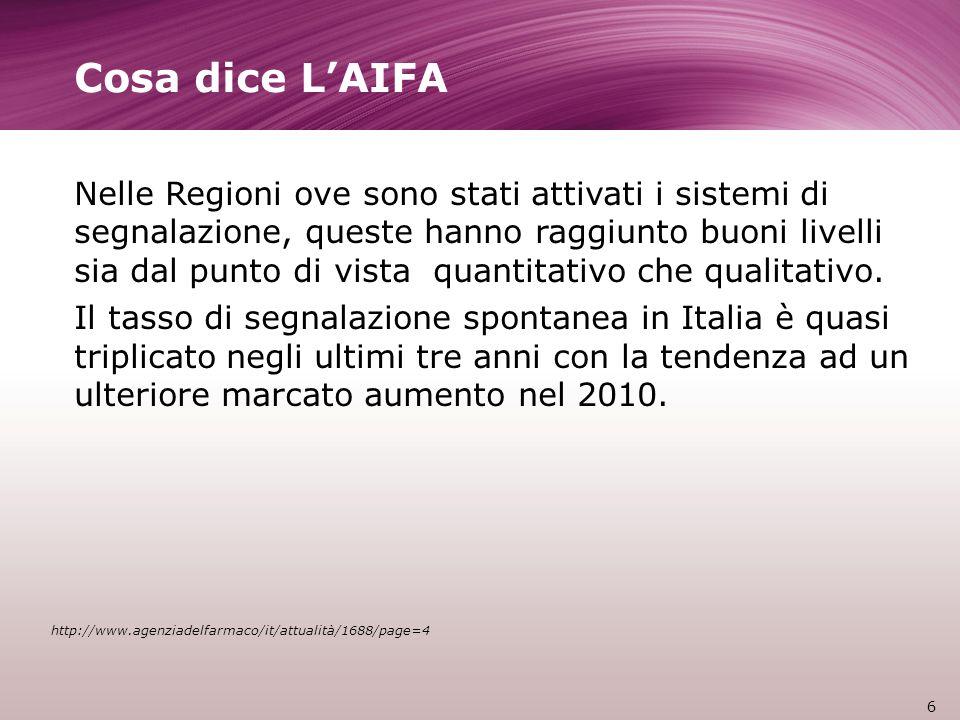 Cosa dice LAIFA Nelle Regioni ove sono stati attivati i sistemi di segnalazione, queste hanno raggiunto buoni livelli sia dal punto di vista quantitativo che qualitativo.
