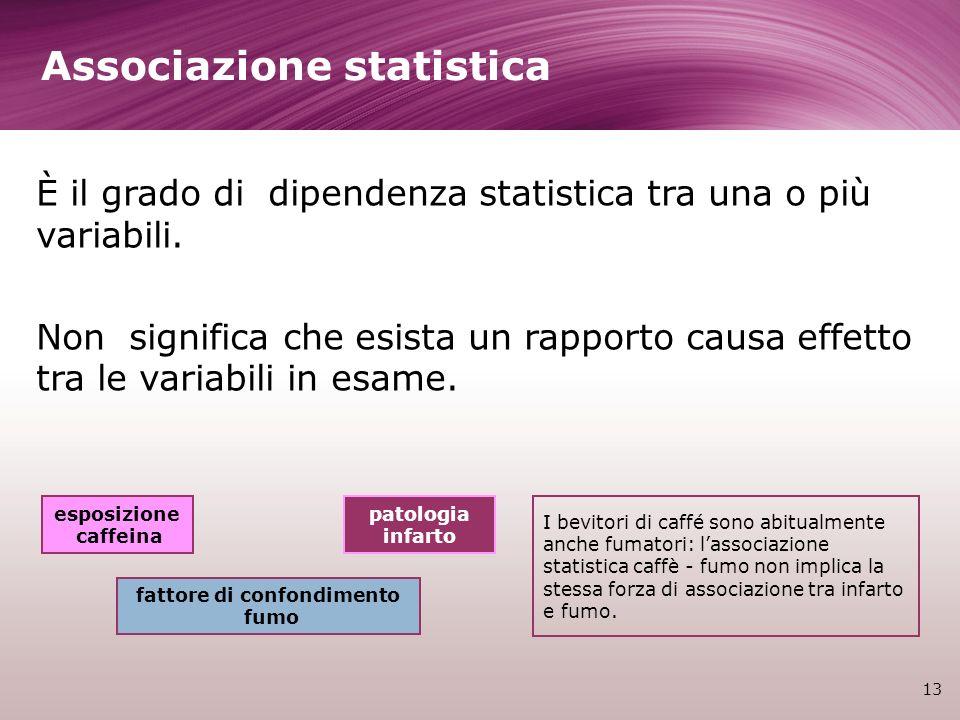 Associazione statistica 13 È il grado di dipendenza statistica tra una o più variabili. Non significa che esista un rapporto causa effetto tra le vari