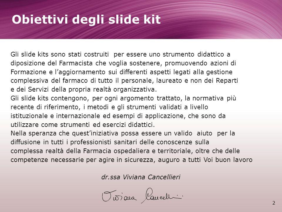 2 Obiettivi degli slide kit Gli slide kits sono stati costruiti per essere uno strumento didattico a diposizione del Farmacista che voglia sostenere,