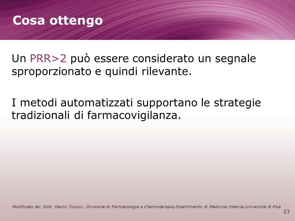 Cosa ottengo 23 Un PRR>2 può essere considerato un segnale sproporzionato e quindi rilevante. I metodi automatizzati supportano le strategie tradizion