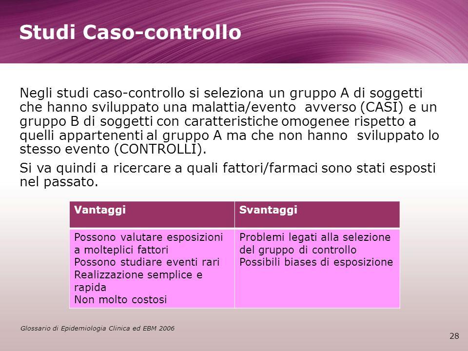 Studi Caso-controllo 28 Negli studi caso-controllo si seleziona un gruppo A di soggetti che hanno sviluppato una malattia/evento avverso (CASI) e un g