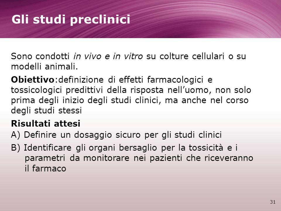 Gli studi preclinici 31 Sono condotti in vivo e in vitro su colture cellulari o su modelli animali. Obiettivo:definizione di effetti farmacologici e t