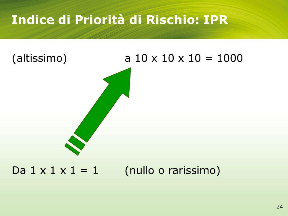 Indice di Priorità di Rischio: IPR (altissimo)a 10 x 10 x 10 = 1000 Da 1 x 1 x 1 = 1(nullo o rarissimo) 24