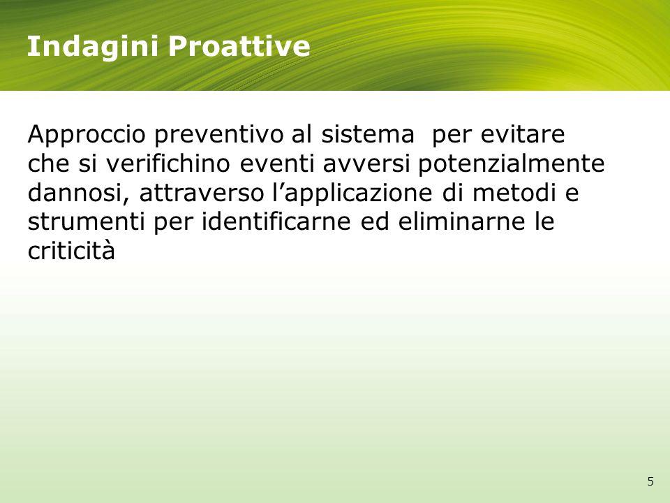 Indagini Proattive Approccio preventivo al sistema per evitare che si verifichino eventi avversi potenzialmente dannosi, attraverso lapplicazione di metodi e strumenti per identificarne ed eliminarne le criticità 5