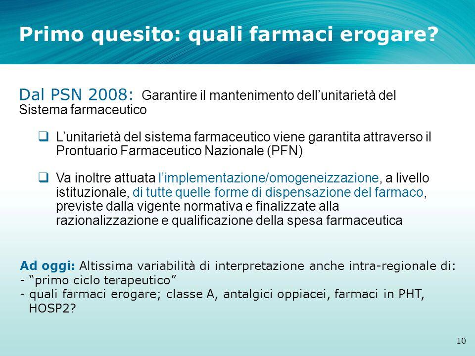 Primo quesito: quali farmaci erogare? 10 Dal PSN 2008: Garantire il mantenimento dellunitarietà del Sistema farmaceutico Lunitarietà del sistema farma